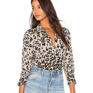 Equipment Leopard Print Cropped Blouse